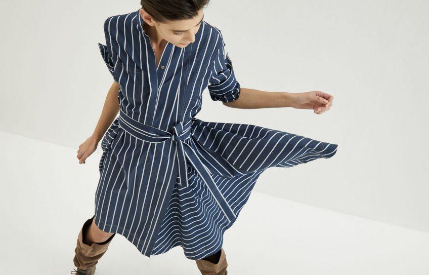 a pinstriped dress